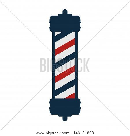 red and blue striped classic barber shop pole. vector illustration