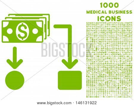 Cashflow raster icon with 1000 medical business icons. Set style is flat pictograms, eco green color, white background.