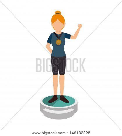 avatar woman winner with medal on pedestal championship podium. vector illustration
