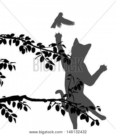 Editable vector silhouette illustration of a cat leaping to catch a small garden bird