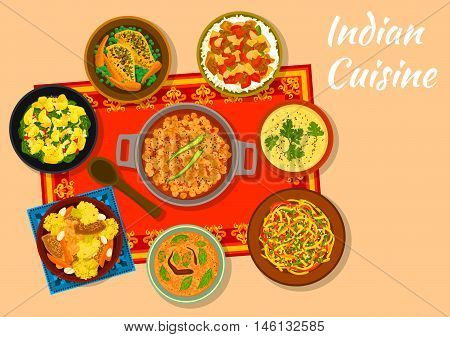 Indian cuisine chickpea curry sign with warm cabbage salad, chicken with vegetables, spinach potato, eggplant stew with rice, corn soup with lentil, snack pie khaman, curry chicken with carrot