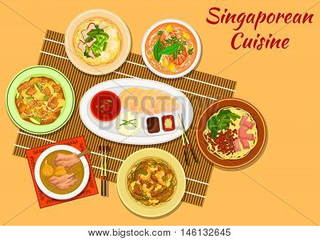 Singaporean cuisine chicken rice icon with seafood noodle soup laksa, minced pork noodles, pork rib soup, pork noodles with wonton dumplings, rice noodles rojak, pineapple with fritters and nuts