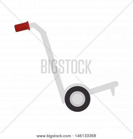 cargo hand cart with red handles and black wheels. vector illustration