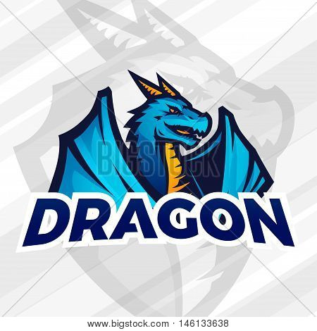 Dragon sport mascot. Football or baseball logotype. College league insignia, School team vector.