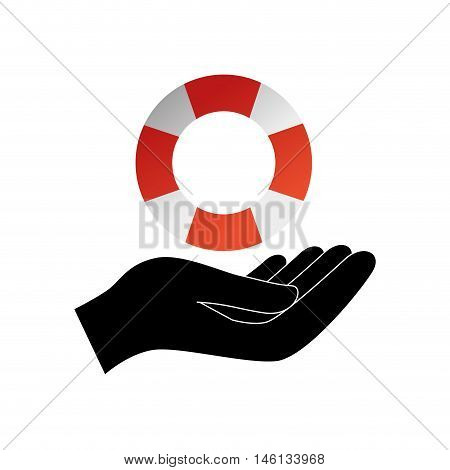 hand holding a lifebuoy float with orange and white stripes. vector illustration