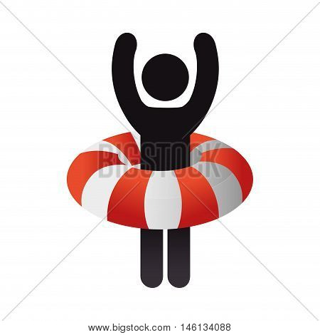 man with a lifebuoy float with orange and white stripes. vector illustration