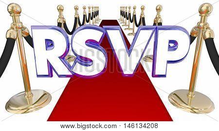 RSVP Reserve Reservation Word Acronym Red Carpet Event 3d Illustration