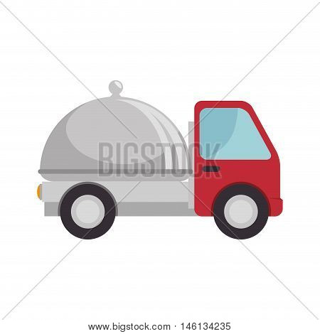 red truck with metal platter restaurant. food delivery service. vector illustration