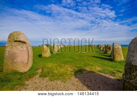 Ales stones, magnificent archaeological megalithic monument in Skane, Sweden