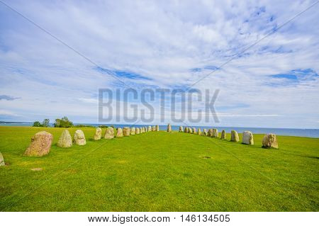 Beautiful view of Ales stones, impressing archaeological megalithic monument in Skane, Sweden