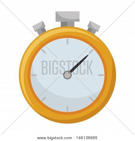 yellow chronometer sport equipment. time counter device. vector illustration