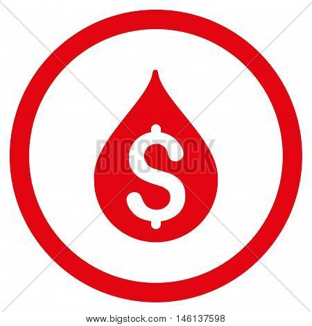 Money Drop glyph rounded icon. Image style is a flat icon symbol inside a circle, red color, white background.