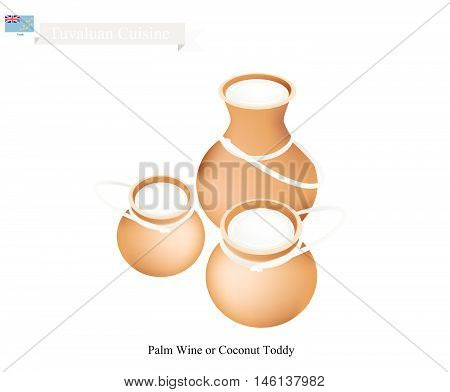 Tuvaluan Cuisine Illustration of Karewe or Traditional Palm Wine or Coconut Toddy. One of The Most Popular Drink in Tuvalu.