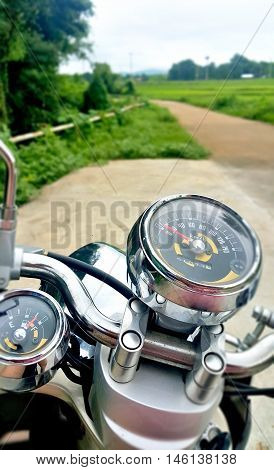 mile of motor bike speedometer background .