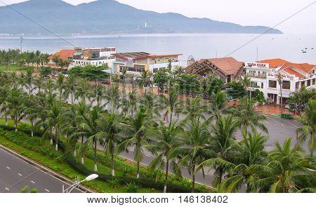 DA NANG, VIETNAM, August 17, 2016 the city of Sea of Da Nang, Vietnam, many trees. clean environment