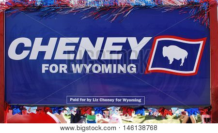 CASPER, WY__JULY 11, 2016: Liz Cheney, daughter of former vice president Dick Cheney running for public office in Wyoming.