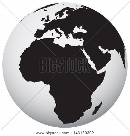 earth icon black global ball atmosphere cartography planet