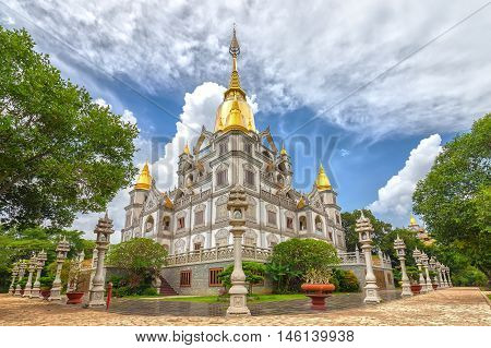 Ho Chi Minh City, Vietnam - August 23, 2016: Panorama Buu Long Buddhist temple, pagoda expressed in many cultures Buddhism currently in Ho Chi Minh City, Vietnam