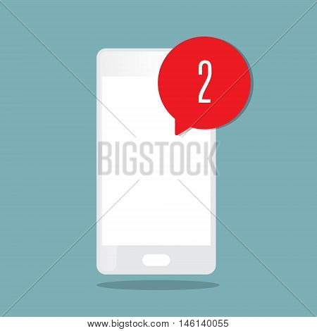 alert icon with smartphone flat style vector illustration