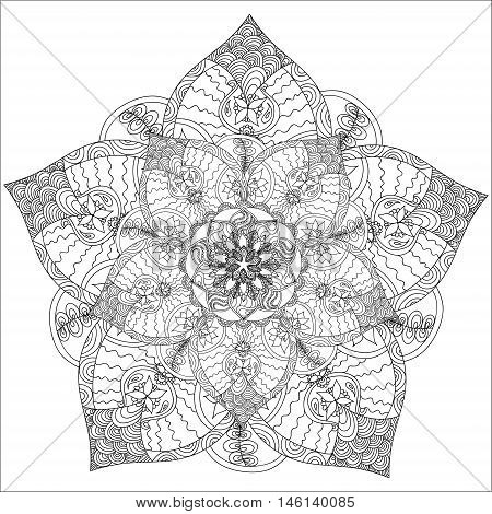Beautiful Monochrome Contour Mandala. Patterned Design Element. Ethnic Amulet. Coloring