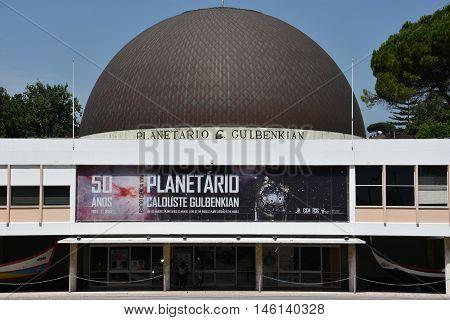 LISBON, PORTUGAL - AUG 23: Planetarium Calouste Gulbenkian at Belem in Lisbon, Portugal, as seen on Aug 23, 2016. The planetarium was built between 1963 and 1965.