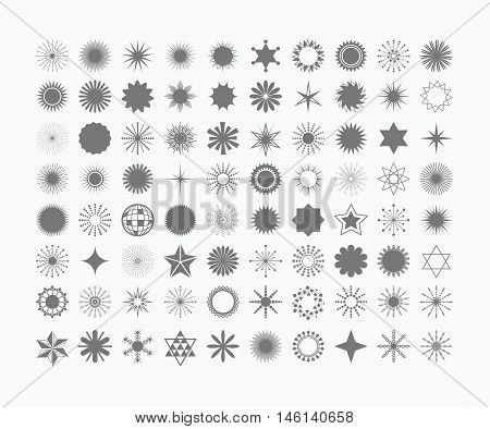 Complete set of 80 black stars flowers, sunbeams, snow flakes, signs and symbols icons on white background