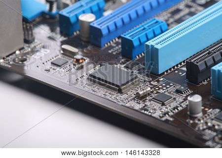 close up motherboard computer on white background