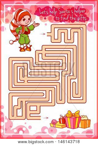 Maze Game For Kids With Cute Elf And Gifts.