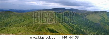 panorama from the footpaths on the mountain ridges in Carpathians, Ukraine