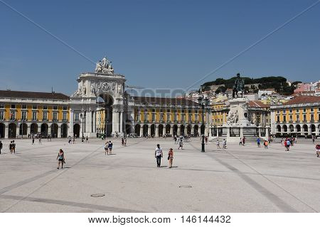 LISBON, PORTUGAL - AUG 21: Praca do Comercio in Lisbon, Portugal, as seen on Aug 21, 2016. This location was traditionally where traders would sell their foreign wares and financiers would fund perilous expeditions to the far reaches of the known world.