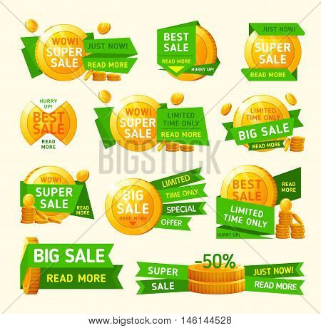 Super sale banner. Sale and discounts. Set of Super sale with golden coin. Vector illustration