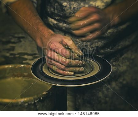 Person Creation Pottery Handcraft Art Mud Concept retro