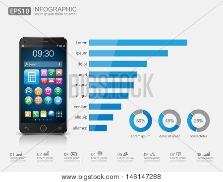 Infographic with a touch screen smartphone. Vector