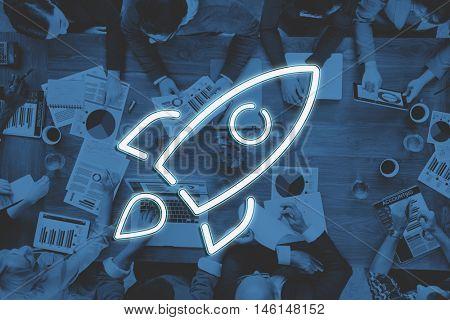 Business Start-up Goals Rocketship Graphic Concept