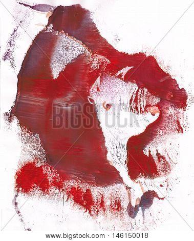Bull on sacrifice in bullfight blood monotypy