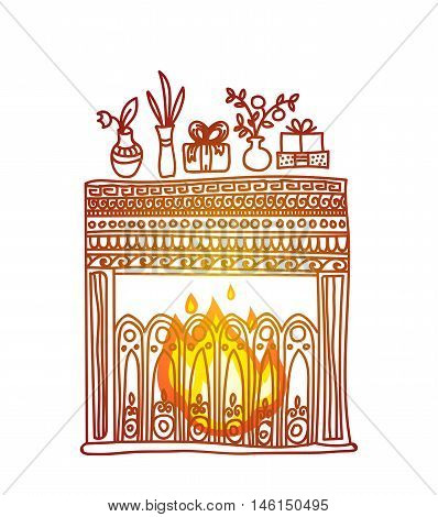 Fireplace, gifts and flowers. Cosy and warm hand drawn design element for Christmas or New Year greeting card. Merry Christmas and Happy New Year