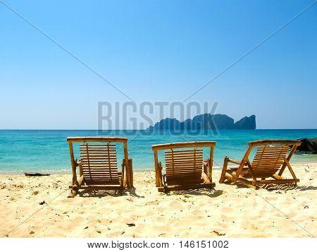 Tropical landscape. Railay beach, Krabi, Thailand. View of the rock and beach