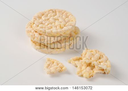 puffed rice bread on white background