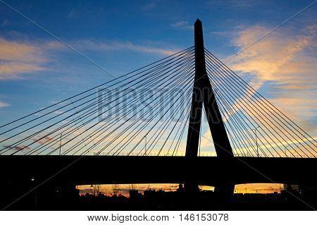 Zakim Bunker Hill Memorial Bridge at sunset in Boston, Massachusetts