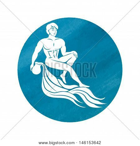 white silhouette of Aquarius are on blue watercolor background. Vector illustration