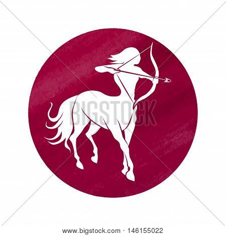 White silhouette of Sagittarius are on watercolor red background. Vector illustration