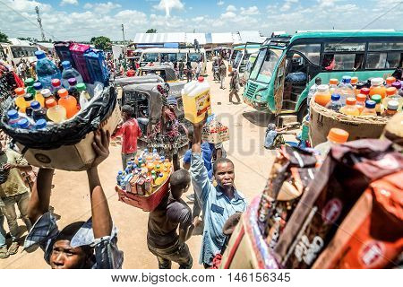 Mwanza,Tanzania,Africa- March 25,2016: Street vendors selling goods at Bus Station in Mwanza Tanzania