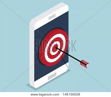 target mobile hit target on mobile mobile marketing concept target vector advertise on mobile marketing target icon vector illustration