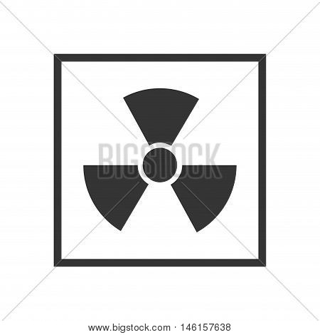 radiation nuclear sign in a black square. industrial security sign