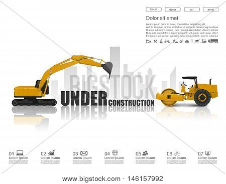 Under construction concept with construction machines. vector