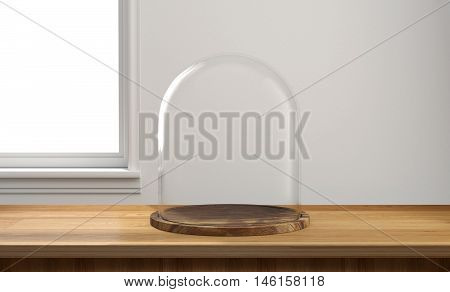 Glass dome with wooden tray on wooden table and window light background