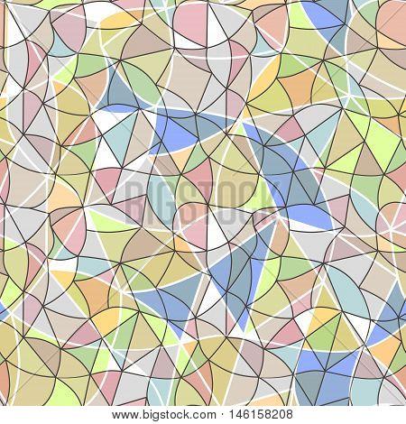 Glass vitrage mosaic kaleidoscopic seamless pattern background soft pastel colors