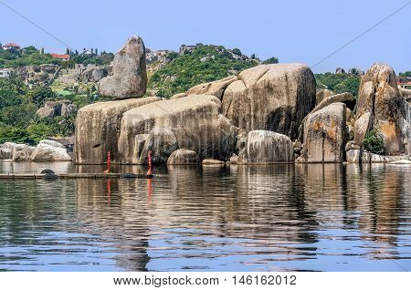 Rocks on the shore of Lake Victoria Tanzania