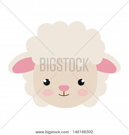 sheep animal character cute cartoon with pink nose . vector illustration