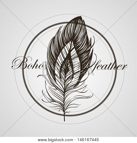 Boho Feather Hand Drawn Effect Vector Style Illustration. Vector Illustration Of Black Boho Feather.